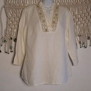 Style&co ivory 100% linen gold embroidery top